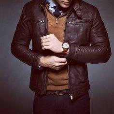 New Men slim fit leather jacket, Men jackets, brown biker leather jacket mens Mode Masculine, Biker Leather, Leather Men, Lambskin Leather, Brown Leather Jacket Men, Leather Fashion, Classic Leather Jacket, Napa Leather, Cowhide Leather