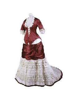 Deep red silk and ivory grosgrain princess-line evening dress with ivory machine lace and pleated cream silk satin trimming (front), 1874-79.