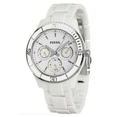 Fossil Women's ES2540 White Resin Bracelet White Analog Dial Multifunction Watch Fossil Watches