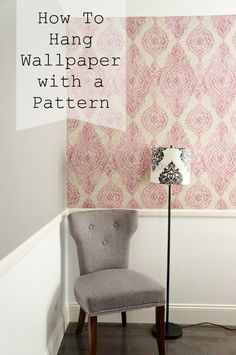 How to Hang Patterned Wallpaper DIY Inspired Featured How To Install Wallpaper, Diy Wallpaper, Pattern Wallpaper, Hanging Wallpaper, Basement Guest Rooms, Living Room Decor Inspiration, Prepasted Wallpaper, Home Fix, Wall Patterns