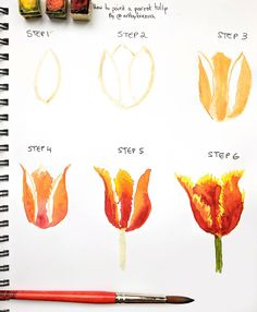 Items similar to tulip painting, tulip art, red tulips, tu Watercolor Flowers Tutorial, Step By Step Watercolor, Watercolour Tutorials, Watercolor Techniques, Painting Techniques, Watercolor Water, Easy Watercolor, Floral Watercolor, Art Watercolour