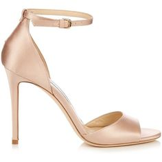 Jimmy Choo Tori 100mm satin sandals found on Polyvore featuring shoes, sandals, heels, jimmy choo, sapatos, nude, heeled sandals, nude shoes, jimmy choo sandals and stiletto sandals