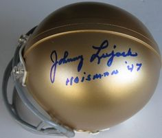 Johnny Lujack, Notre Dame Fighting Irish, 1947 Heisman Trophy Winner, Signed, Autographed, Mini Helmet, with Coa by RIDDELL. $129.99. THIS IS A SIGNED MINI HELMET *CERTIFICATE OF AUTHENTICITY(COA)-EACH ITEM COMES WITH A COA. *PROOF PICTURES-THE PROOF PHOTOS IN MY AUCTION MAY NOT ALWAYS BE THE EXACT ITEM YOU ARE BIDDING ON,BUT SHOWS THE ATHLETE (S) SIGNING FOR ME.