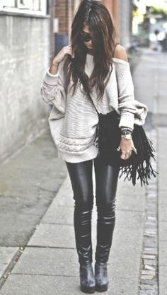 street chic - Off the shoulder sweat, leather leggings and you can't forget the black fringe bag....a must have!
