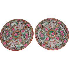 from Vintage Paris Designs on Ruby Lane; Set of 2 Rose Medallion Chinese Export Plates
