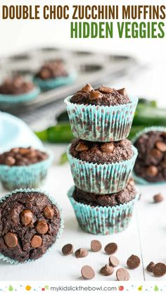 Kids Meals Double Chocolate Zucchini Muffins a hidden veggie recipe perfect for kids and picky eaters, these muffins are healthy snacks Baby Food Recipes, Gourmet Recipes, Healthy Recipes, Kid Veggie Recipes, Hidden Vegetable Recipes, Microwave Recipes, Protein Recipes, Thai Recipes, Fruit Recipes
