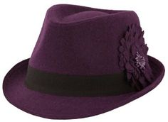 Classic Style Short Brim Fedora with Flower Band (Violet, One Size) Fedoras-Hat Depot Plus. $20.95