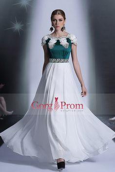 2014 Athens Style Bicolor Prom Dresses Scoop Neckline A Line Floor Length