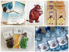 Invitations also designed by aforementioned amazingly clever friend. The Gruffalo was used for 'pin the wart on the gruffalo'. Goodie bags for the kids to take home, and the water bottles. 2nd Birthday Party For Boys, Birthday Party Games, Third Birthday, Birthday Ideas, Gruffalo Party, Baby Party, Party Box, Party Themes, Party Ideas