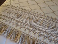 Swedish Weave Wedding Gift for Larry and Liz Woven on Monk's cloth by Sandra
