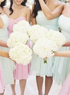 hydrangea bouquets + soft bridesmaids dresses colors.
