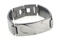 Wide Mens Rugged Stingray Titanium Metal Jewelry Link Bracelet, 7.5""