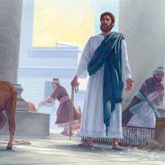 Warum treibt Jesus Tiere aus dem Tempel? Und warum wirft er die Tische der Geldwechsler um? Jesus In The Temple, Pictures, Bible Lessons, Dios, Showing Respect, Kids Bible, Worship, Temples, Animales