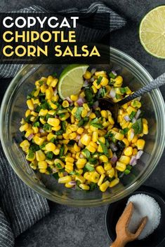No one will ask for takeout when you make this copycat Chipotle Corn Salsa! Add this EASY corn salsa recipe to homemade burrito bowls & everyone will rave. #chipotle #copycat #cornsalsa #recipe Make Ahead Appetizers, Hot Appetizers, Quick And Easy Appetizers, Easy Appetizer Recipes, Chipotle Corn Salsa, Chipotle Bowl, Corn Recipes, Copycat Recipes, Party Recipes