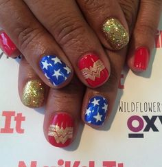 Wonder Woman nails for a local hero! (She's a police officer and an amazing mom! Holiday Nail Designs, Halloween Nail Designs, Cool Nail Designs, Halloween Nails, Seasonal Nails, Holiday Nails, Wonder Woman Nails, Superhero Nails, Marvel Nails