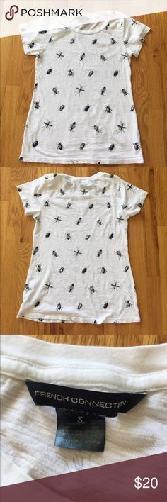 Stop bugging and start shopping! T-shirt w 🕷🐞🐜 Cute and super soft white t-shirt sketches with black buggies. Measures 24 inches long and 16 inches across. Small tear near bottom front just noted as I was posting French Connection Tops Tees - Short Sleeve
