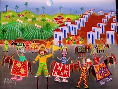 ARACY TEMA FESTA DA AMAZONIA A VENDA COM AJUR SP (Pintura),  50x40 cm por Arte Naif AJUR SP VENDEDOR E DIVULGADOR DA ARTE NAIF BRASILEIRA