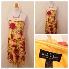 NICOLE MILLER COLLECTION Yellow Floral Strapless Corset Ruffle Dress Size 8 #NicoleMiller #Corset #SummerBeach