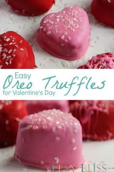 Easy No Bake Oreo Cookie Truffles for Valentine's Day - Busy Bliss Looking for easy Valentines Day desserts recipes? Learn how to make these easy Oreo cookie truffle Mini Desserts, Party Desserts, No Bake Desserts, Delicious Desserts, Dessert Recipes, Baking Desserts, Health Desserts, Pink Desserts Easy, Baking Snacks