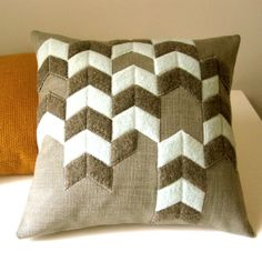 CHEVRON PATTERN PILLOW made from recycled wool, in seafoam and earth colors