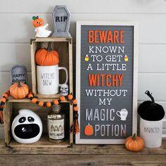 @thefernwayfarmhouse Halloween Rae Dunn & DCWV letterboard