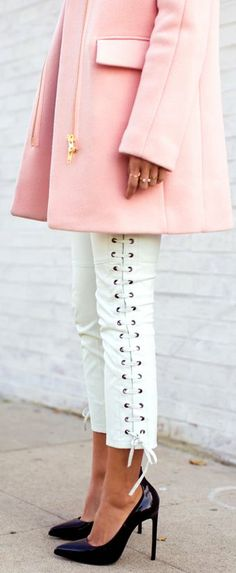 pink coat and lace up pants
