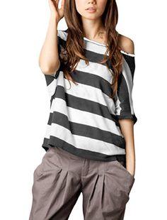 Allegra K Ladies Asymmetric Neck Short Dolman Sleeve Stripes Fashion Shirt Allegra K http://www.amazon.co.uk/dp/B00MED2ZBS/ref=cm_sw_r_pi_dp_eSTcub0AT464J