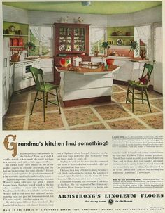 "Notice hutch in the kitchen, I wonder if that would work in mine - - - 1946 Ad, Armstrong Linoleum Floors, ""Grandma's Kitchen"" Star Mobile, 1940s Kitchen, Vintage Kitchen, Retro Kitchens, Vintage Room, Vintage Decor, Vintage China, Pyrex, House Plans With Pictures"