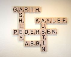10-30 Large Scrabble Letters Wood Tiles With Command Strips - Personalized Wood Scrabble Letters