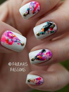 Graphic criss cross nail art tutorial cross nail art cross cool splatter design nail art on white polish prinsesfo Images