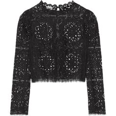 Temperley London - Nomi Lace Top ($348) ❤ liked on Polyvore featuring tops, black, embellished top, keyhole top, scalloped lace top, scalloped tops and lace top
