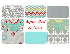 Aqua Red Grey Pillow Cover One 20 x 20 Mix & by PillowStyles