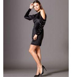 Βελούδινο  Μίνι Φόρεμα με Έξω Ώμους  - Μαύρο Party Dress, Black, Dresses, Fashion, Vestidos, Moda, Black People, Fashion Styles, The Dress