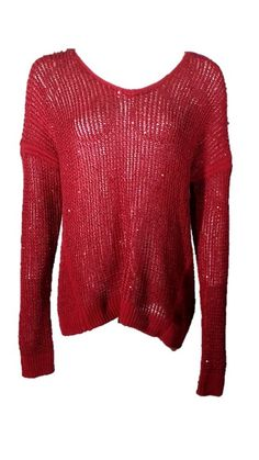 DKNY Red Textured Ruby Red Sweater
