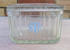 Vintage STC Labelled Glass Bread Box Depression