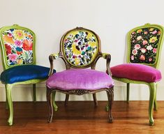 Eclectic boho dining chairs in 2019 bohemian house mobilya b Eclectic Dining Chairs, French Dining Chairs, Dinning Chairs, Room Chairs, Bag Chairs, Repurposed Furniture, New Furniture, Painted Furniture, Nursery Furniture