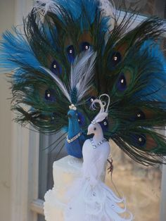 Peacock cake topper exquisite pair CUSTOM CREATED with Eggplant Accents for Mileidys. $95.00, via Etsy.