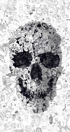 Doodle Skull, Square Canvas Art by Ali Gulec Wallpaper Doodle, Graffiti Wallpaper, Wallpaper Backgrounds, Iphone Wallpaper, Black Wallpaper, Doodle Art, Dope Wallpapers, Wallpapers Android, Skull Art