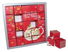 Beställ hem vår söta tekalender med ekologiska tesorter i pyramidpåsar. En julkalender som passar alla som älskar te. En låda varje dag i december 2017 fram
