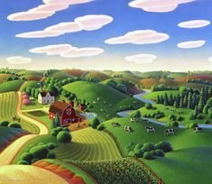 Dairy Farm Painting by Robin Moline