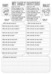 English worksheet: MY DAILY ROUTINE (2)