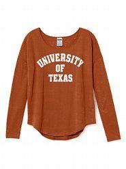 Burnout Long Sleeve Drapey Tee - University of Texas - Victoria's Secret