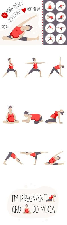 9 yoga poses for pregnant women. Objects. $12.00