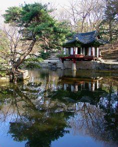 Zen Reflection - pond-side pavilion at Changdeokgung Emperor's Palace, Soeul, S. Korea.