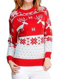Ugly Christmas Sweater for Women Vintage Funny Merry Tunic Knit Sweaters Christmas Sweaters For Women, Christmas Jumpers, Ugly Christmas Sweater, Christmas Clothes, Vintage Christmas, Pullover Sweaters, Vintage Ladies, Knitting, Deer
