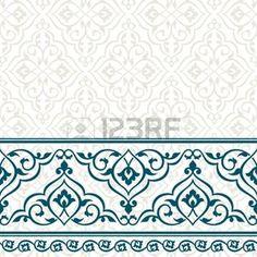 ISLAMIC BORDER: Tarjeta de invitación de la vendimia con el patrón persa.