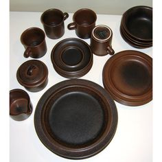 Vintage Arabia Finland Ruska Designed by Ulla Procopé -- Four 5-piece Place Settings. $540.00, via Etsy.