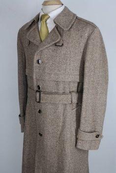 Mens Vintage 70's Brown Wool Tweed Belted Long Trench Spy Coat 42 Large NICE