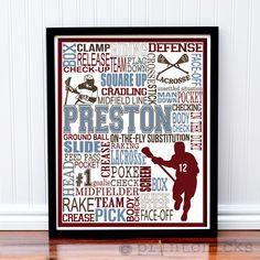 Lacrosse Custom Print - Personalized Lacrosse Poster - Lacrosse Print - Boy's Room Decor – PrintChicks