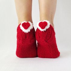 Slippers with heart for women Handmade knitted slippers Wool slippers Hand knit booties Valentine's day! (24.00 USD) by mymomsshop1